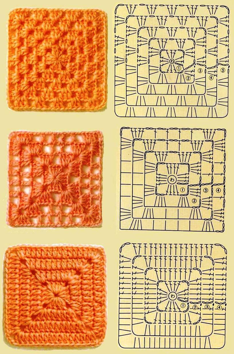 Схема вязания бабушкиного квадрата крючком с описанием